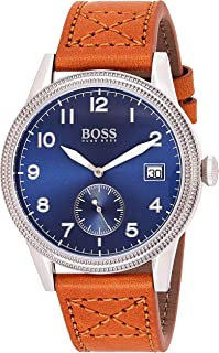 Hugo Boss Mens Quartz Watch, Analog Display and Leather Strap 1513668