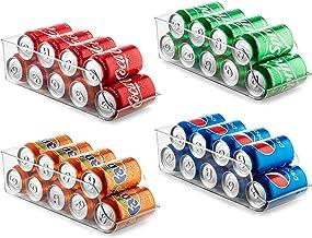 Set of 4 Refrigerator Organizer Bins Pop Soda Can Dispenser Beverage Holder for Fridge, Freezer, Kitchen, Countertops, Cab...