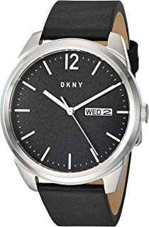 Men's Gansevoort Stainless Steel Quartz Watch with Leather Strap, Black, 21.8 (Model: NY1604)