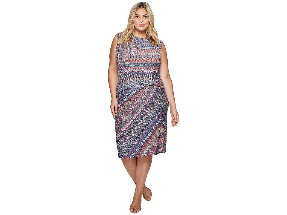 NIC+ZOE Plus Size Zigzag Twist Dress (Multi) Women