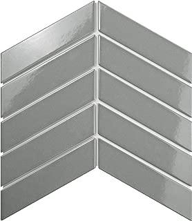 SomerTile FMTSHCGL Retro Soho Chevron Porcelain Floor and Wall Tile, 1.75
