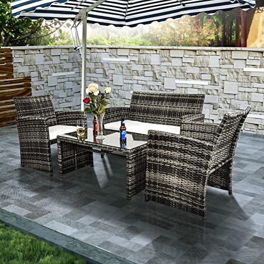 B07R4TNNJC✅Goodgojo 4 Piece Rattan Patio Furniture Set Garden Lawn Pool Backyard Outdoor Sofa Wicker Conversation Set
