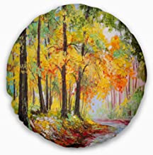 Designart CU6016-16-16 Colorful Autumn Forest' Landscape Printed Throw Cushion Pillow Cover for Living Room, Sofa, 16 in. ...