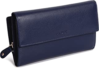 (Peacoat Blue) - SADDLER Womens Real Leather Large Oversize Trifold Wallet with Zipper Coin Purse