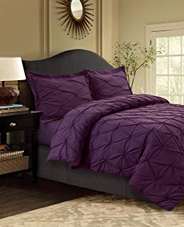 Tribeca Living SYD110DSKIPU 110 GSM Sydney Microfiber Duvet Cover Set, King, Purple
