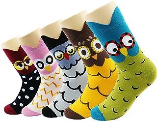 Calcetines Mujer, Pack de 5 Pares de Calcetines Mujer Algodon, Calcetines Extra Suaves Con Diseños Divertidos de Unicornios Gatos Buhos, Regalos Originales Para Mujer