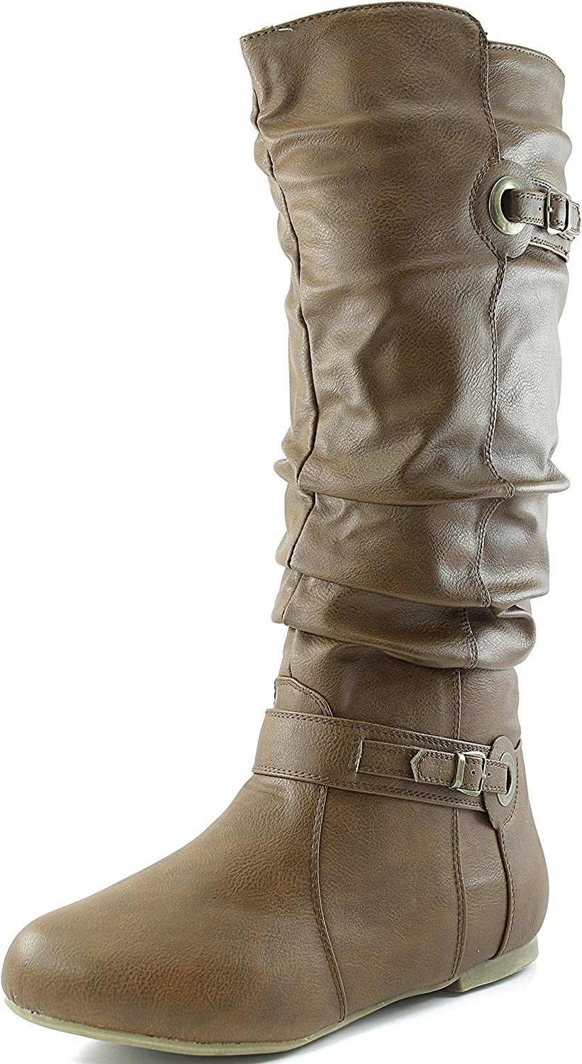 Women's Round Toe Mid Calf Knee High Buckle Slouched Boot