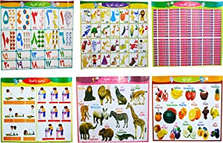 6 Arabic Posters Perfect for Toddlers Kids Preschool & Kindergarten Classrooms Include Arabic Alphabet Letters, Numbers, Shapes, and More.
