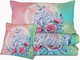 Sleepwish Kids Unicorn Comforter Set 3D Magical Horse Print Bedding with 2 Pillow Shams and 1 Cushion Cover Unicorn Pattern 4 Pieces Reversible Rose Patel Pink Blue Comforter for Girls (Twin)