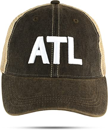 1f38643a755 ATL Trucker Hat Atlanta Airport Code Unstructured Baseball Cap Embroidered