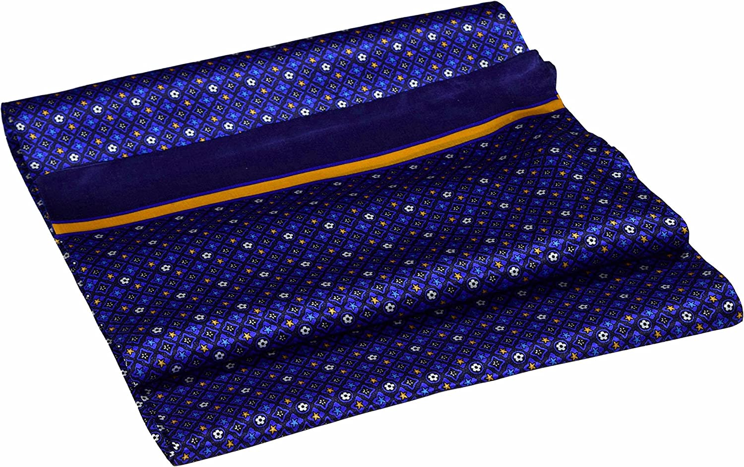 Blue Fashion Yellow Stars Printed Double Pure Silk Long Max 47% OFF Scarf Layer