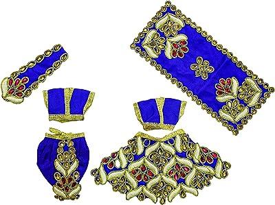 The Holy Mart Radha Krishna Dress Set Size 3| Krishna Radha Silk Dress Heavy Embroidery with 2 Mala