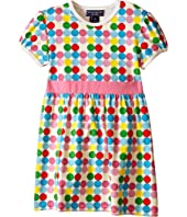 Toobydoo - Short Sleeve Dot Dress w/ Navy Belt (Infant/Toddler)