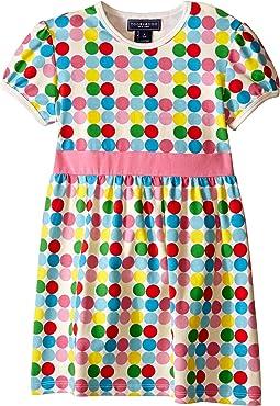 Short Sleeve Dot Dress w/ Navy Belt (Infant/Toddler)