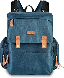BabySprout Baby Diaper Bag Backpack Blue with Changing Pad, Stroller Hooks, Large Capacity for Diapers, Wipes, Bottles, Breast Pump, Mom Dad, Girl Boy