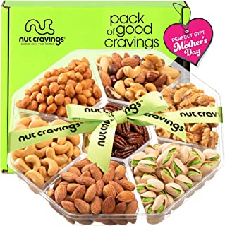 Mothers Day Nut Gift Basket + Green Ribbon (7 Piece Assortment, 1 LB) - Prime Arrangement Platter, Birthday Care Package V...