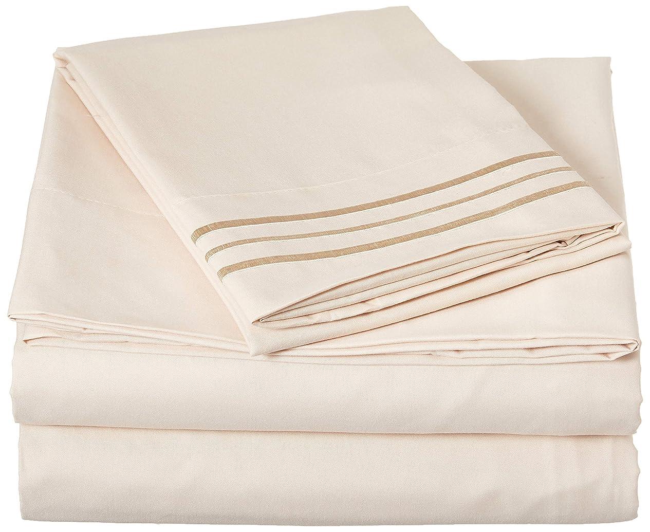 キリスト失業天Elegant Comfort ベッドシーツ 4点セット贅沢な柔らかさのスレッド数1500 エジプト品質 しわ&色あせ防止 深型ポケットシーツ 22色 ツイン/フル/クイーン/キング/カリフォルニアキング各サイズ ツイン ベージュ FBA_COMIN18JU058046