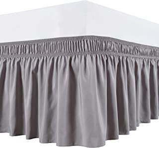 Biscaynebay Wrap Around Bed Skirts Elastic Bed Ruffles, Easy Fit Wrinkle and Fade Resistant Solid Silky Luxurious Textured Fabric, Silver Grey Queen Size 15 Inches Drop