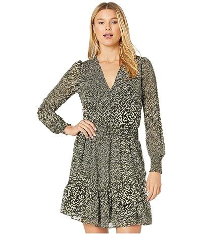 MICHAEL Michael Kors Ruffle Wrap Dress (Black/Evergreen) Women