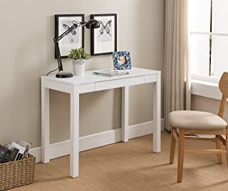 Kings Brand Furniture White Finish Wood Single Drawer Parsons Desk