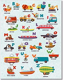Alphabet Animal Wall Art - ABC's Transportation Poster (Set of 1) 11x14 - Unframed
