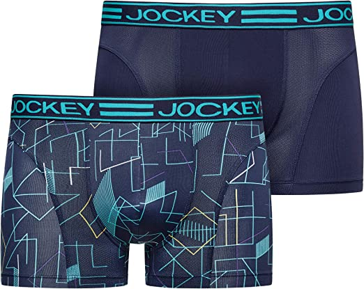 Mens Pack 2 Jockey Sport microfibres longues jambes de compression Shorts de sport Boxer avec empi/ècements en tulle