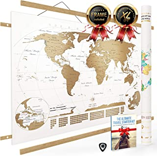 World Map Scratch Off (Large) International Travel Poster with Frame | Country Flags, Continents, Major Cities, USA State...