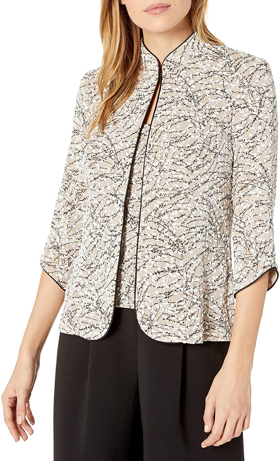 Alex Evenings Women's Mandarin Neck Manufacturer direct delivery Max 87% OFF Jacket Tank Twinset Top and