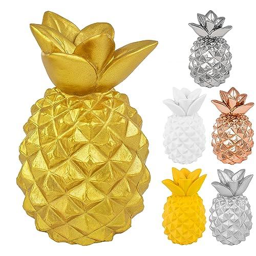 BRUBAKER Ananas décoratif - Style / Décoration moderne - Hauteur 15 cm - Doré