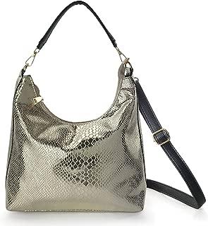 Shining Hobo Slouch Shoulder Handbag Women Satchel Snake Print Cross body Bag
