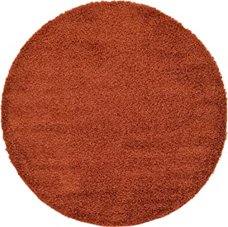 Unique Loom Solo Solid Shag Collection Modern Plush Terracotta Round Rug (6' 0 x 6' 0)