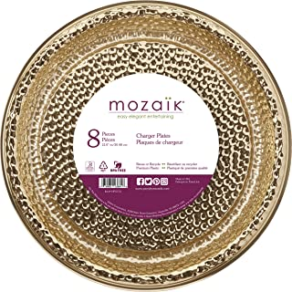 "Mozaik Hammered Gold Premium Plastic 12"" Chargers/Serving Platters, 8 count"