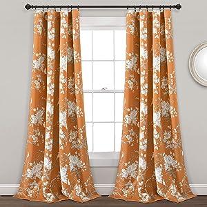 Lush Decor, Orange Botanical Garden Curtains Floral Bird Print Room Darkening Window Panel Drapes Set for Living, Dining, Bedroom (Pair), 84