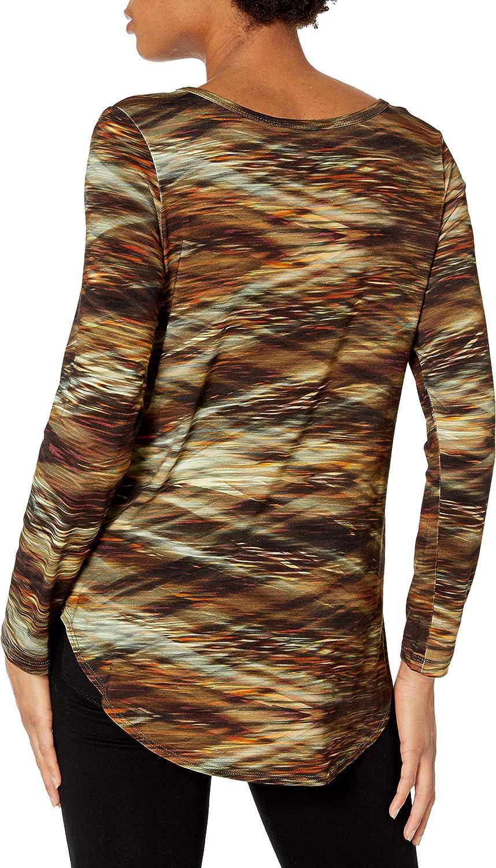 Karen Kane Women's Long Sleeve Shirttail Tee Blouse Print