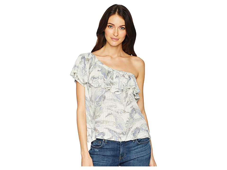 Lucky Brand Tropical One Shoulder Top (Natural Multi) Women's Short Sleeve Pullover
