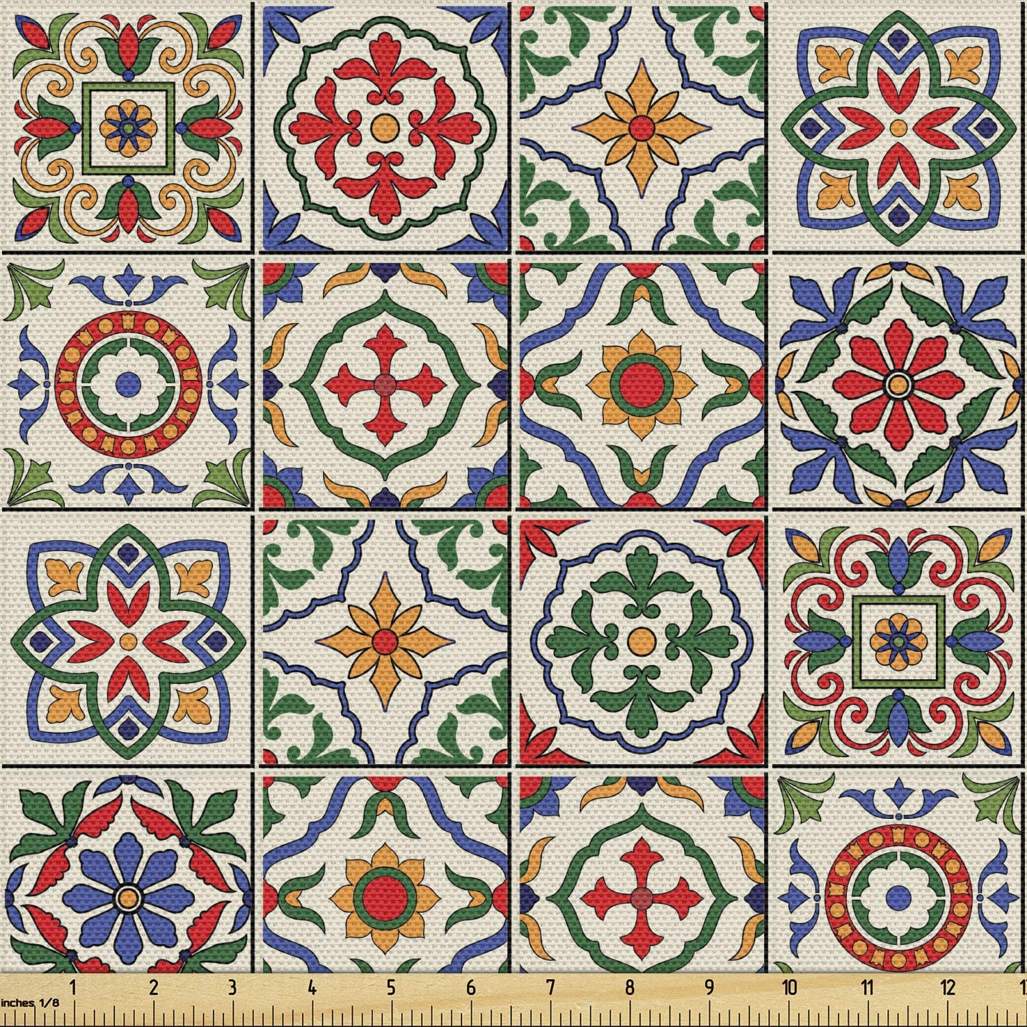 Ambesonne Safety and trust Moroccan Fabric by The 5 popular Yard Pattern Colorful Azulejo