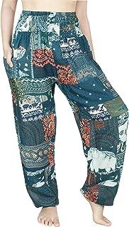 Women's Smocked Waist Floral Rayon Yoga Boho Patch Harem Pants