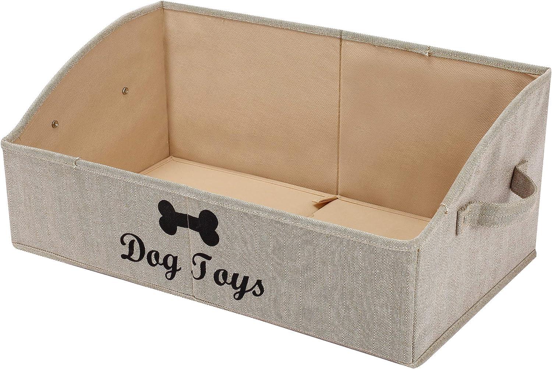 Geyecete Cajas de Almacenamiento para Juguetes Grandes para Perros, Cajas organizadoras trapezoidales de Tela Plegable con asa, Cesta Plegable para estantes, Juguetes para Perros-Rayas Caqui