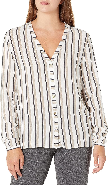 HANRO Women's Sleep and Lounge Long Sleeve Shirt, Pastel Stripe, Medium