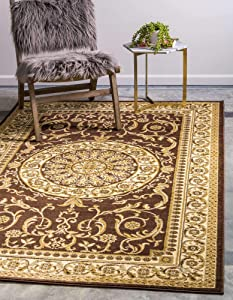 Unique Loom Versailles Collection Traditional Classic Medallion Floral Motif Area Rug (2' 2 x 3' 0 Rectangular, Brown/ Ivory)