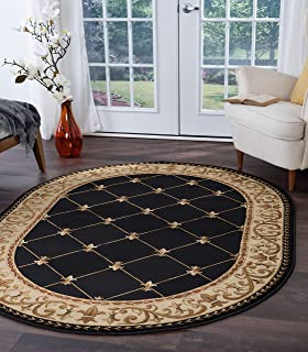 Orleans Traditional Border Black Oval Area Rug, 5' x 7' Oval