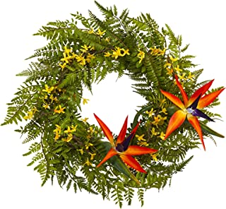24in. Mixed Fern, Forsythia and Bird of Paradise Artificial Wreath