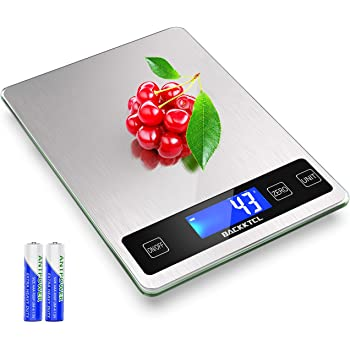 Back Ktcl Digital Food Kitchen Scale, 22lb Weight Multifunction Scale Measures in Grams and Ounces for Cooking Baking, 1g/0.1oz Precise Graduation, Stainless Steel and Tempered Glass