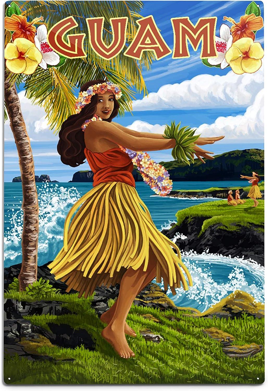 Lantern Press Guam Hula Girl Max 42% OFF on Aluminum Coast 2021 model Sign Wall 12x18