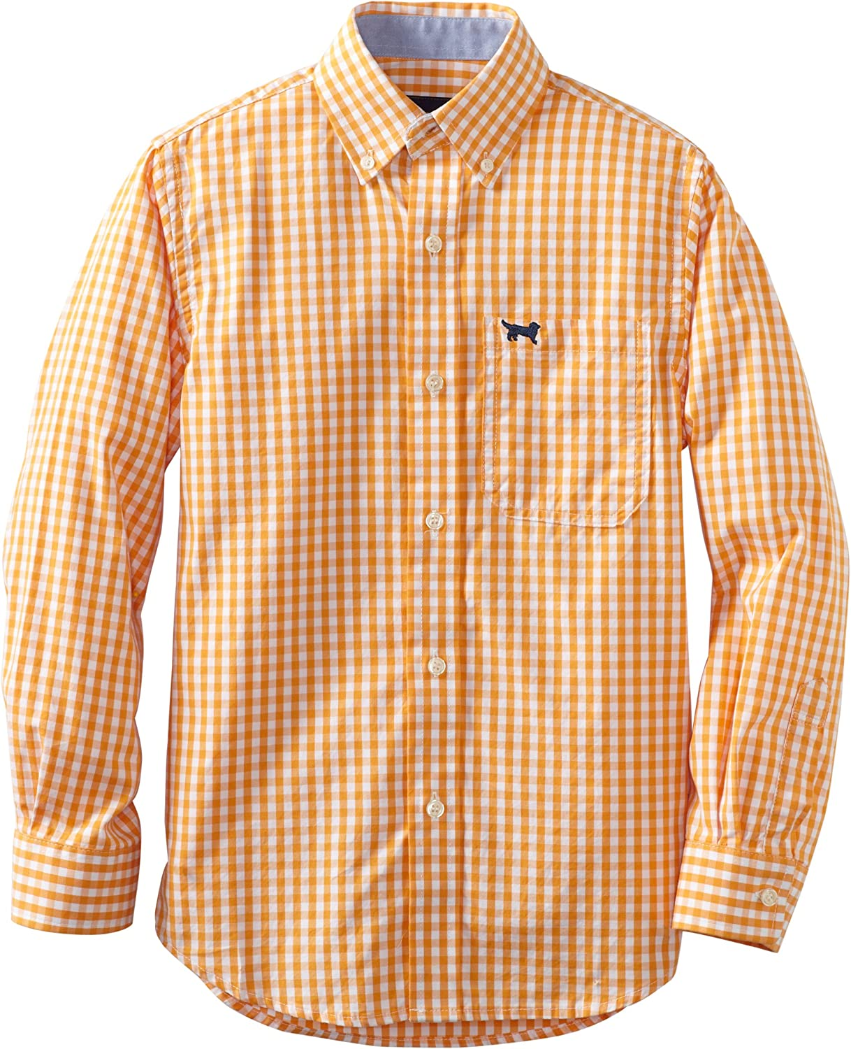 Wes and Willy Big Boys' Long Sleeve Small Gingham Dress Shirt