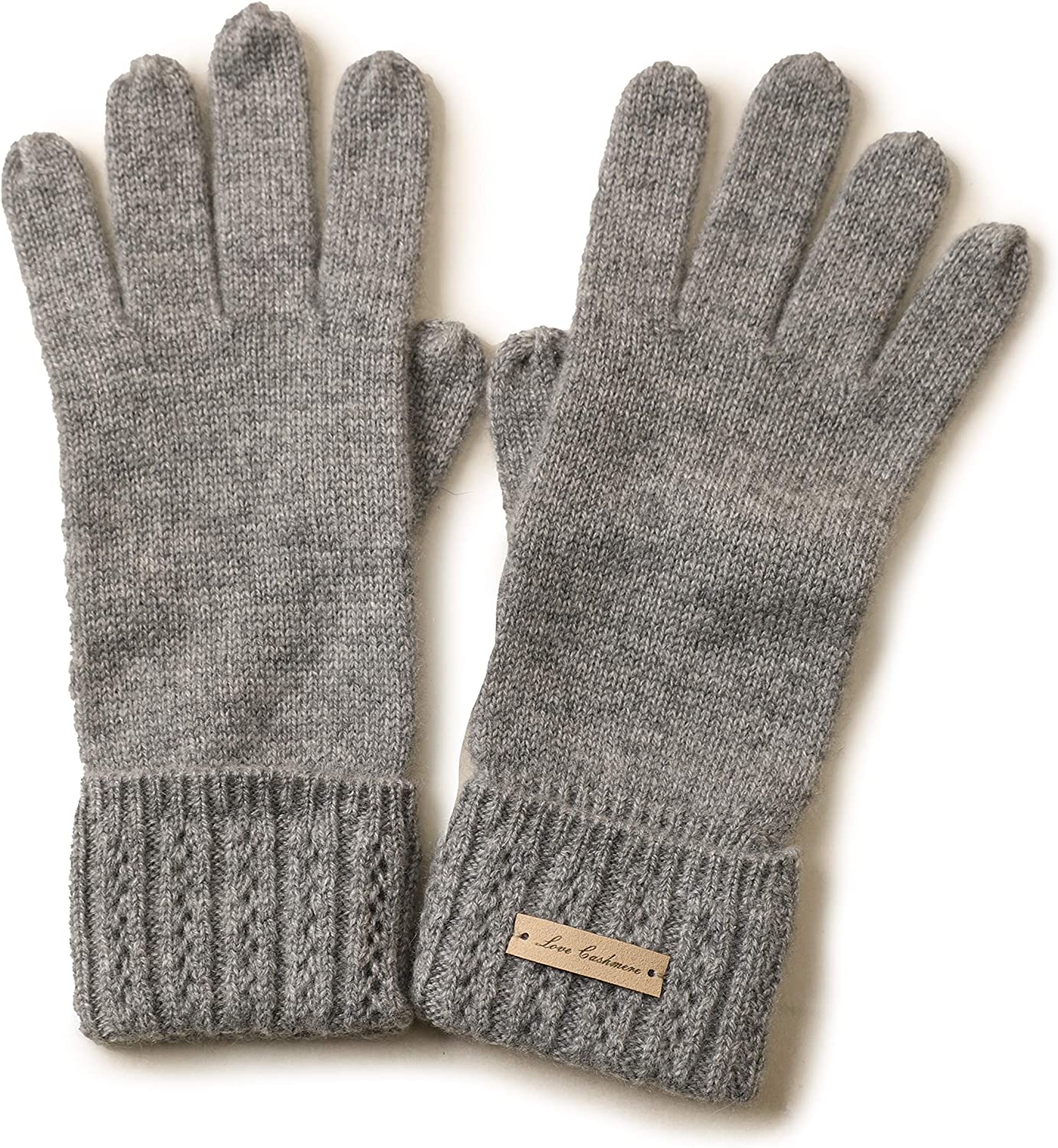 Winter Fashion Womens Five-finger Gloves Warm 100% Pure Cashmere Hollowed Cable Edge Knitted Gloves