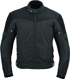 Mens Motorcycle Biker Jacket Waterproof Black Textile Cordura With Motorbike CE Armour (EN 1621-1) - Texpeed