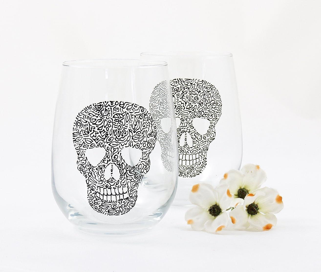 Cinco de Mayo stemless wine glasses - Hand painted - Set of 2 - Sugar Skull - Halloween