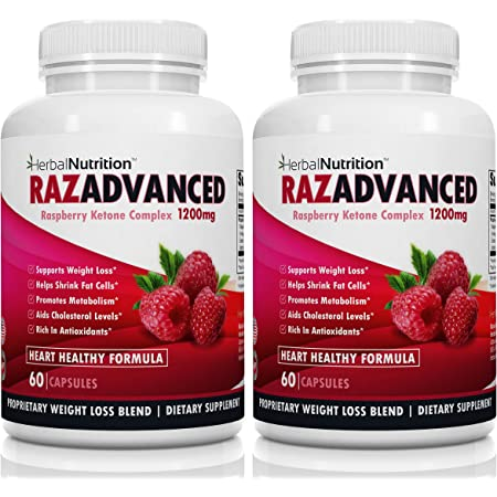 Raspberry Ketones Weight Loss Complex, 2 Bottle Pack, 120 Capsules, 1200mg Per Serving African Mango, Apple Cider Vinegar, Green Tea and Kelp