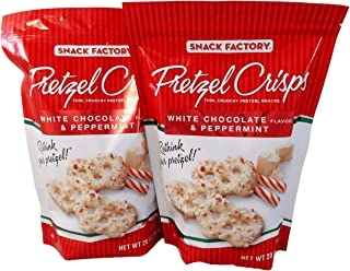 Snack Factory Pretzel Crisps White Chocolate Flavor and Peppermint 20 Oz (Pack of 2 Large 20 Ounce Bags)